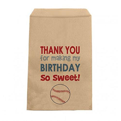 Baseball Birthday Candy Bags - Boys Birthday Thank You Favor Bags - 6.25