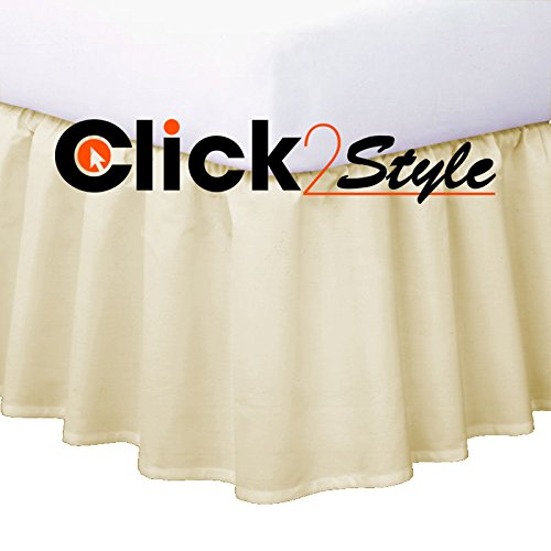 CLICKTOSTYLE BASE VALANCE SHEETS FRILLED UK STANDARD SIZES EASY CARE 17 COLORS POLLYCOTTON (Double, Black)