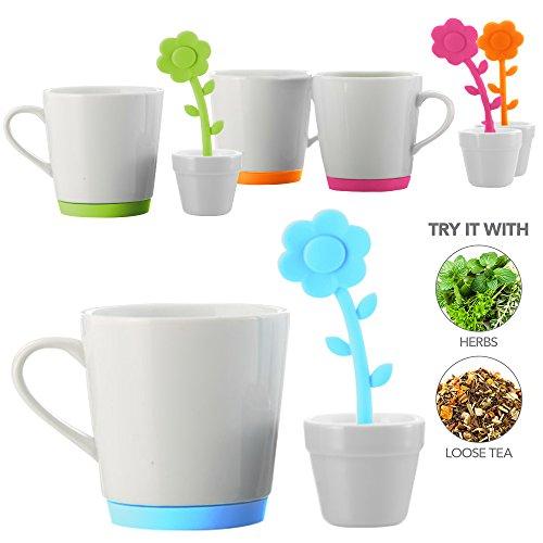 Teabloom FLORET Ceramic Tea Mug with Flower Shaped Tea Infuser and Tea Bag Tidy Set - 9oz. Mug - Silicone Loose Leaf Tea Infuser & Tea Bag Drip Tray Set in Shape of Flower and Pot (Tea Shaped Infuser)