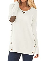 Women's Casual Long Sleeve Faux Suede Loose Tunic Button...