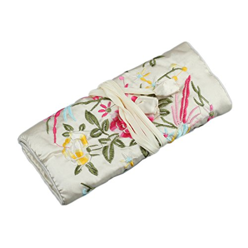 Blossom Jewelry Case - WEI LONG@Jewelry Roll, Travel Jewelry Roll Bag,Silk Embroidery Brocade Jewelry Organizer Case with Tie Close (Blossom, White)