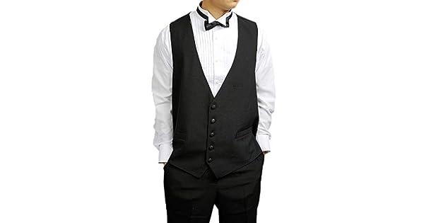 Amazon.com: Para hombre Negro 5 Botón Vestido Chaleco Negro ...