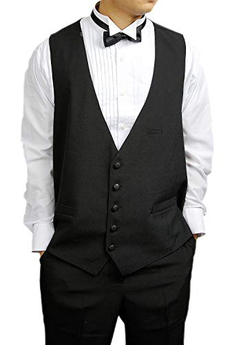 Broadway Tuxmakers Mens 100% Wool Black 5 Button Tuxedo Vest by (40L) ()