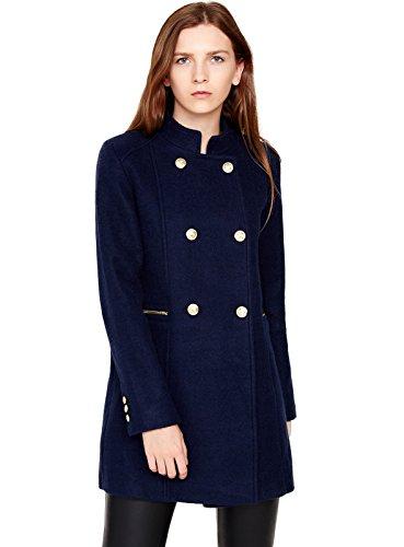 Escalier Women's Double-Breasted Pea Coat Winter Woolen Jacket Navy L