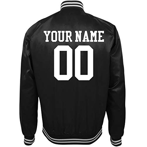 Personalized Baseball Jackets - Your Custom Sports Fan Bomber: Unisex Nylon Bomber Baseball Jacket Black