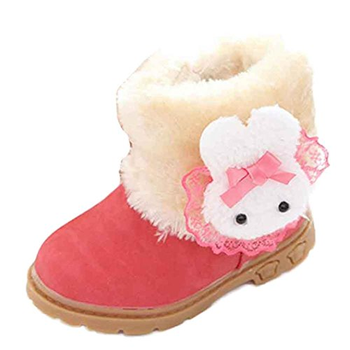 GBSELL Cute Baby Toddler Girl Winter Warm Rabbit Boot Outdoor Snow Boots Shoes (Red, 1-2 Year)