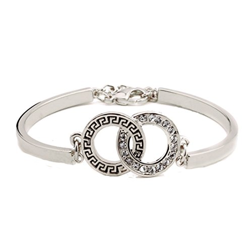 Delicate Zinc Alloy Womens Intertwined Love Rings Friendship Eternity Bracelet With Rhinestone Surround - Available In Silver / Gold Tones - Approx Size: 5.7in + 1.13in Extender Chain (Silver tone)