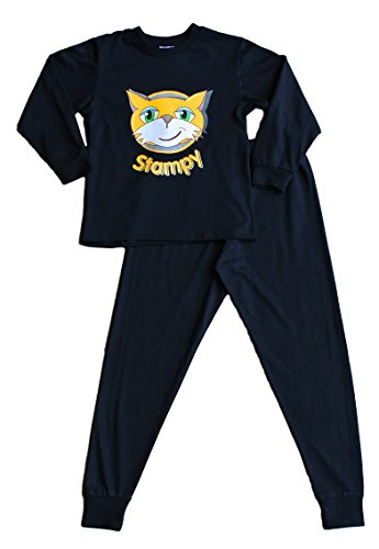 Stampy Cat Unisex Long Pyjamas StampyLongNose Head FACE Black (9-10 - Face Cat Long