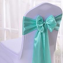 50PCS 17X275CM Satin Chair Bow Sash Wedding Reception Banquet Decoration #01 Aqua