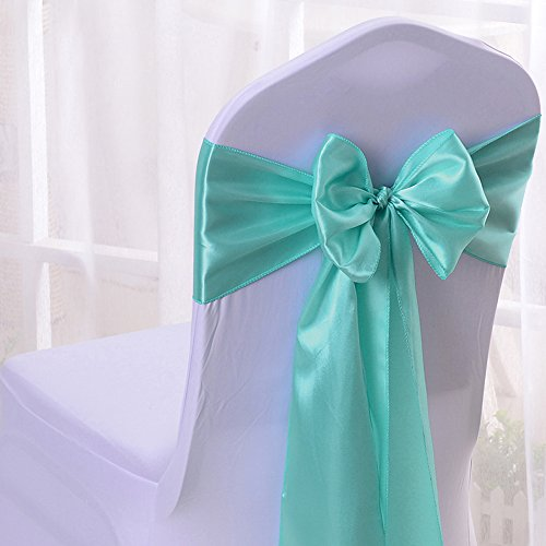 50PCS 17X275CM Satin Chair Bow Sash Wedding Reception Banquet Decoration #01 - And Blue Gold Tiffany