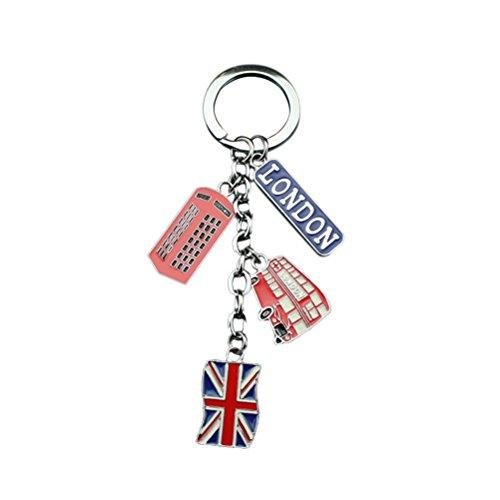 (LUOEM UK Flag Metal Keychain Souvenir Keychain Union Jack Keyring Car Keyring Bag Charms)