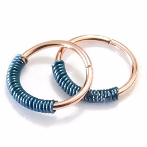 1PC Rose Gold & Teal/Turquoise Wire Wrapped Piercing Hoop Cartilage Earring Nose Ring Seamless 21g 20g 18g 19g 16g