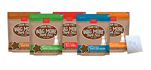 Cloud Star Wag More Soft & Chewy Treat Variety Pack - 5 Total Flavors: Beef, Cheddar, Chicken, Duck, and Peanut Butter & Apple Plus one Pet Paws Notepad (5oz Each, 5 Total Flavors)