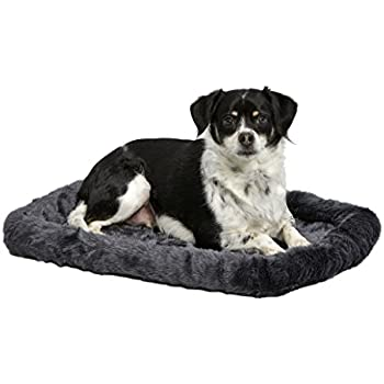"MidWest Deluxe Bolster Pet Bed for Dogs & Cats; Pet Bed Measures 24L x 18W x 2.25H Inches & Fits Standard 24""L Wire Dog Crate, Gray"