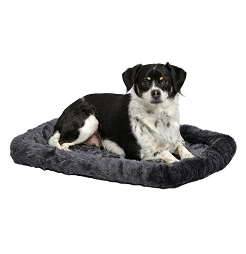 MidWest Deluxe Bolster Pet Bed for Dogs & Cats; Pet Bed Measures 24L x 18W x 2.25H Inches & Fits Standard 24″L Wire Dog Crate, Gray
