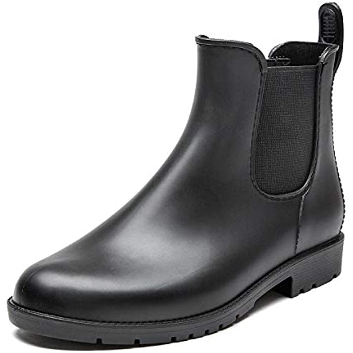 DKSUKO Rain Boots for Women,Waterproof Comfortable Womens Ankle Chelsea Booties