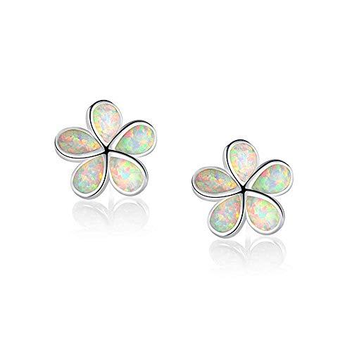 CiNily Flower Stud Earrings,White Opal Stud Earrings 14K White Gold Plated Hypoallergenic Flower Earrings Jewelry Gift for mom,Girls,Women