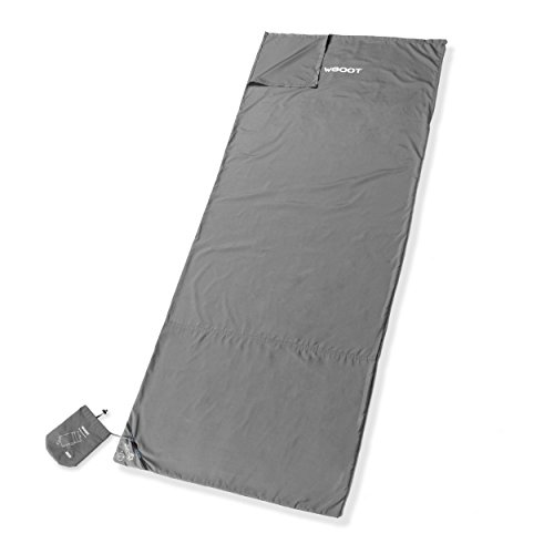 WGOOT Compact Sleeping Bag Liner & Travel Sheet with Built-in Sack Bag, One of Softest & Most Convenient Camping Sheet. (Gray, 78