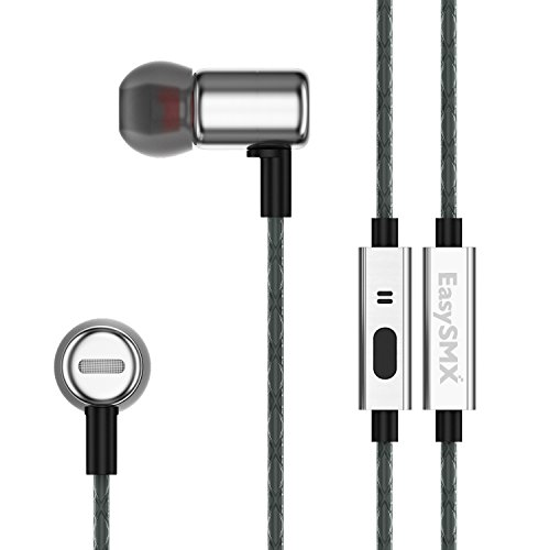 HTQ New Version In-Ear Noise Isolating Earbuds Metal Headphones with 10mm driver Microphone and Remote Stereo Earphones for iPhone iPad iPod Tablets Laptop Android Smartphones Black