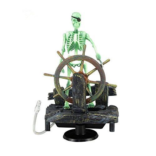 FOXDE TECH Action-Aquarium Ornament Skeleton Pirate Captain Fish Tank Decoration Landscape ()