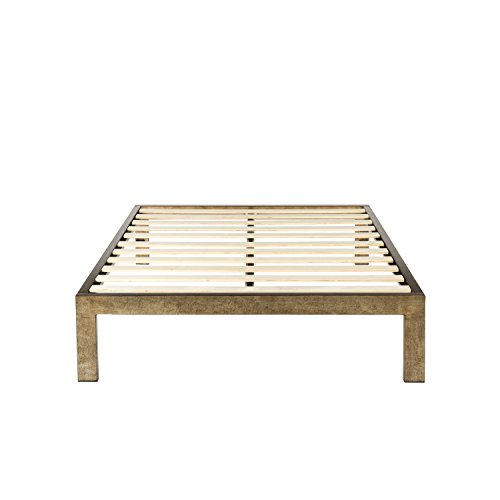 The Frame - Gold Brushed Steel Frame, 14 Inch Height Platform Metal Bed Frame / Mattress Foundation, no Boxspring needed, Wooden Slat Support, Cal King Size