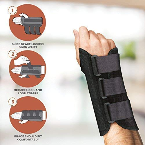 FlexTrek Copper Wrist Support Brace with Splints for Carpel Tunnel Tendonitios Pain Arthritis Relieve and Heal Wrist Injury Pain with Advanced Copper Technology Right Hand