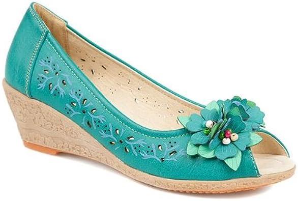 Pavers Peep-Toe Wedge with Flowers