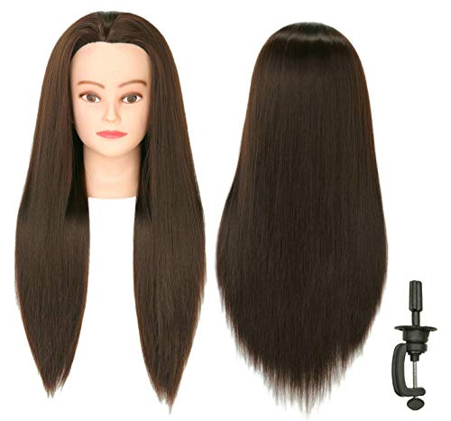 FUTAI 30 Mannequin Head with Hair Doll Heads with Perfect Curling with Stand (Brown)