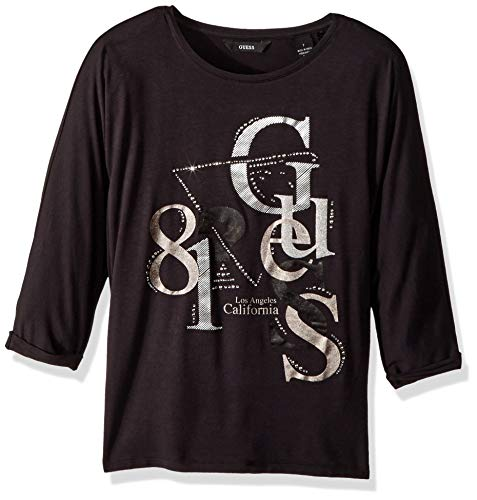 Guess Girls' Big Arabella Short Sleeve Graphic Flowy T-Shirt, Jet Black, 16 -