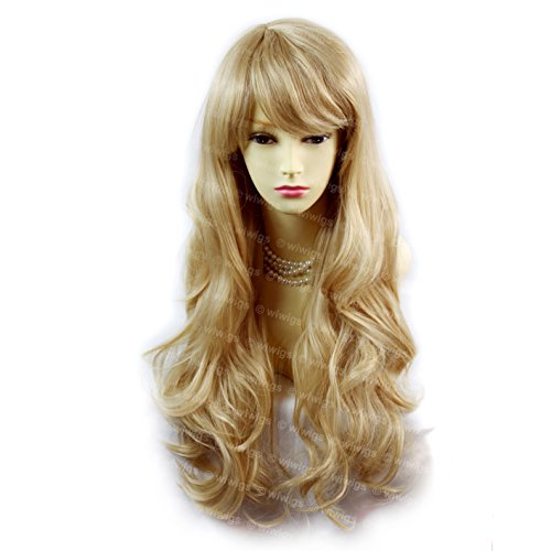 Sexy Beautiful Layered wavy Blonde mix Long Ladies Wigs Skin Top Wig 27H613