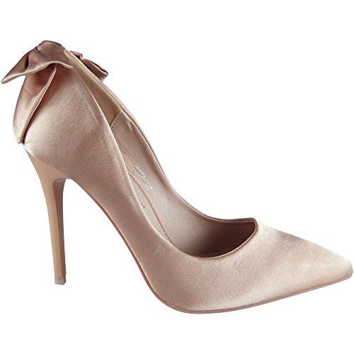 Damen Satin Hoch Stilett Hacke Hochzeit Brautjungfer Party Gericht Schuhe Größe 36-41 Rosa