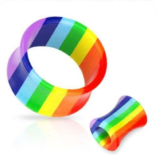Earrings Double Flared Acrylic Rainbow