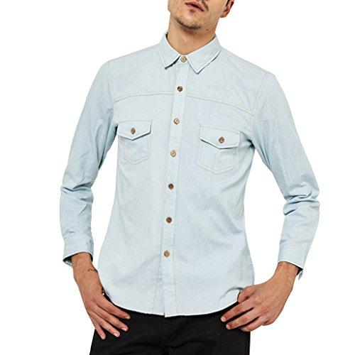 Cowboy Dress For Man - Denim Shirts For Men Long Sleeve Denim Shirt Relaxed Fit Work Shirts For Men Button Down Denim Dress Shirt Mens Cowboy Shirt By OrangeTime Blue CN M