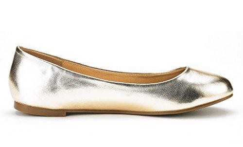 DREAM PAIRS Damen Sole Einfache Ballerina Walking Wohnungen Schuhe Gold Pu