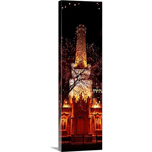GREATBIGCANVAS Gallery-Wrapped Canvas Entitled Night Old Water Tower Chicago IL by 20