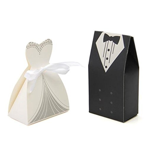 - Just_for you - 20Pcs Bridal Gown and Groom Tuxedo Dress Candy Box, Wedding Favors Case for Wedding Decoration mariage casamento.