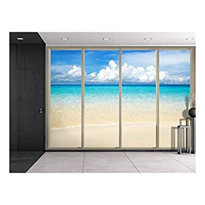 Created Just For You, Charming Technique, Clouds Over The Shore and Beach Viewed from Sliding Door Creative Wall Mural Peel and Stick Wallpaper