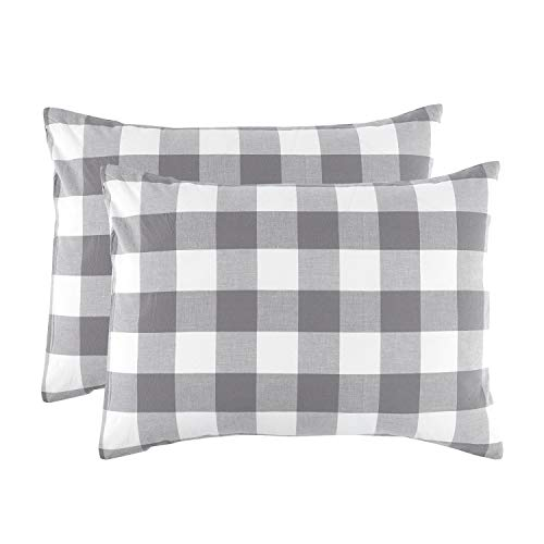 Wake In Cloud - Pack of 2 Pillow Cases, 100% Washed Cotton, Grey Gray White Buffalo Checker Gingham Geometric Plaid Printed Comfy Soft Pillowcases (King Size, 20x36 Inches)