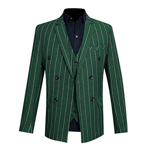 Birdfly Men Fashion Stripted Captain Performance Presenter Costume Formal Suit (L, Green Striped) ()