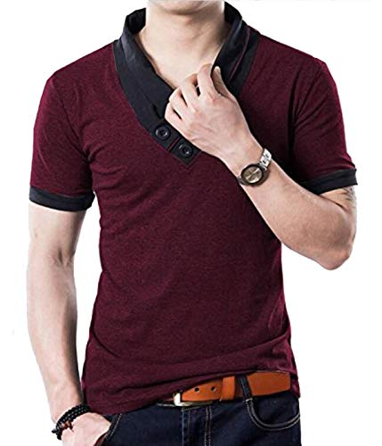 - YTD 100% Cotton Mens Casual V-Neck Button Slim Muscle Tops Tee Short Sleeve T- Shirts (US Large, Wine Red)