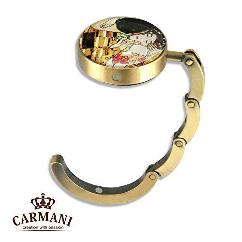 Carmani - Folding Purse Hook Bag Hanger Portable Bag Holder With Gustav Klimt 'the Kiss'