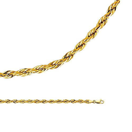 Rope Chain Solid 14k Yellow Gold Necklace Silky Hollow Twisted Diamond Cut Light Big, 4 mm - 22 inch