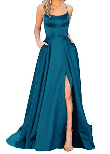 JASY Women's Spaghetti Satin Long Black Prom Dresses with Pockets (20W, Peacock Blue)
