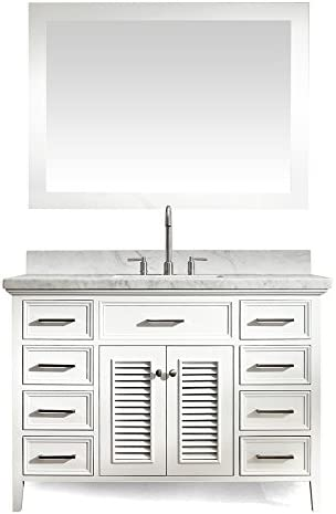 ARIEL Kensington D049S-WHT 49 Inch Solid Wood Single Sink White Bathroom Vanity Set with Carrara Marble Countertop