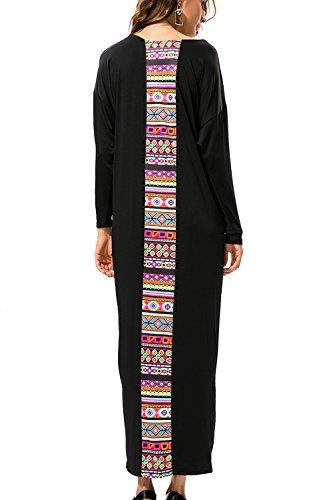 Damen Langarm Patchwork Maxi-Kleid mit Taschen