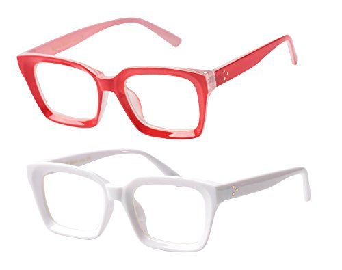 SOOLALA 2-Pair Vintage Stylish 53mm Lens Oversized Reading Glass Big Eyeglass Frame, WhiteRed, 0.5 ()