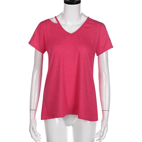 courtes Tops Neck shirt manches Amlaiworld Mode Femmes Tee chaud v T été Rouge shirt Casual vqpF78wIpx