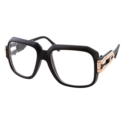 Male And Female Costumes (Large Oversized Hip Hop Gold Clear Lens Glasses - Men Women Costume or Fashion)