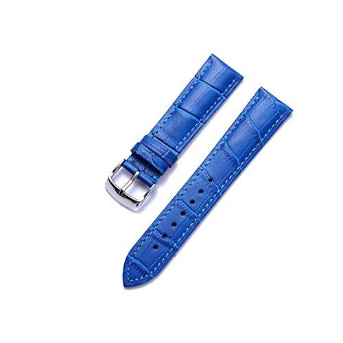 BINLUN Genuine Calfskin Replacement Leather Watch Strap Blue 20mm