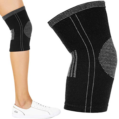 Cotton Compression Knee Sleeve. Support Brace for Running, Sports, Arthritis, Joint Pain Relief. ACL MCL Injury Recovery. Soft and Anti-Allergic. Single